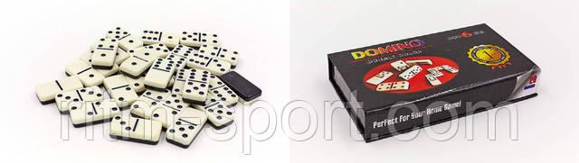 Набір доміно складається з картонного футляра в якому розміщені 28 гральних кісток.