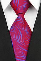 Галстук мужской красный с синий абстракцией KAILONG