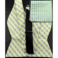 Галстук-бабочка мужская с платком (светло-лимонная с серым в квадратик)