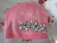 """Подростковая зимняя шапка на флисе  """"Бантики"""" на девочку. Разные цвета. Оптом., фото 1"""