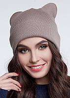 Теплая женская шапка с ушками