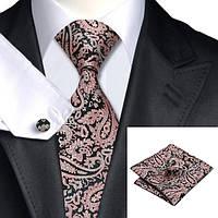 Подарочный мужской галстук черный в розовых абстракциях JASON&VOGUE