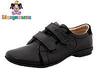 Кожанные детские туфли черного цвета 32-37 размер