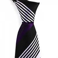 Галстук мужской черный с фиолетовыми и светло-фиолетовые полоски KAILONG