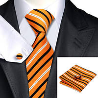 Подарочный мужской набор: галстук, запонки и платок от Jason&Vogue (оранжевый в черную и белую полоску) JASON&