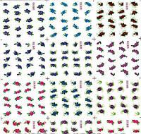Водные наклейки цветы синие розовые фиолетовые Наклейки для ногтей лист YB-912, фото 1