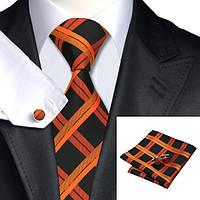 Подарочный мужской набор черный в оранжевые полоски JASON&VOGUE