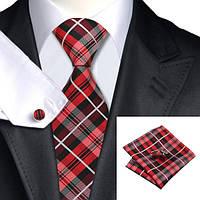 Подарочный мужской галстук красный в полоски JASON&VOGUE