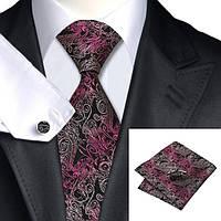 Подарочный мужской галстук черный в розовых круживах JASON&VOGUE