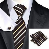 Подарочный мужской набор коричневый с бежевыми полосками JASON&VOGUE