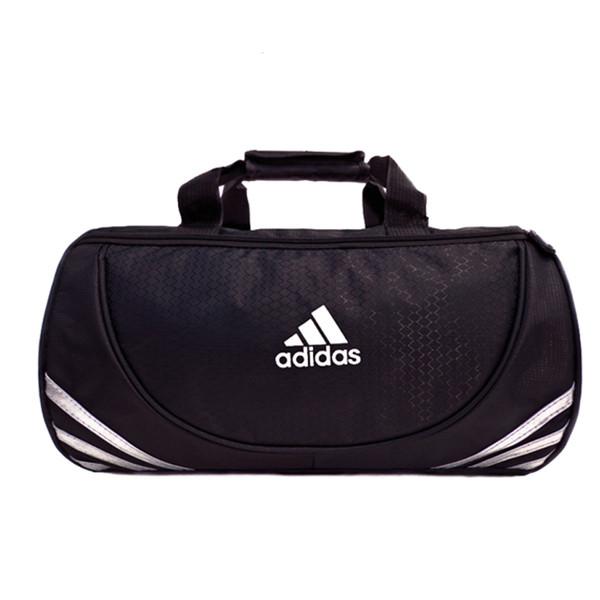 Спортивная сумка Adidas черная с серебристым логотипом большая (реплика)