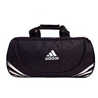 Спортивная сумка Adidas черная с серебристым логотипом большая