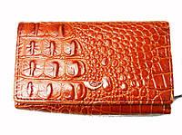 Кошелек Fani WP-30-033 рыжий женский тройного сложения из натуральной кожи монетница снаружи размер 12х10
