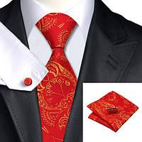 Подарочный мужской галстук красный с желтыми абстракциями JASON&VOGUE