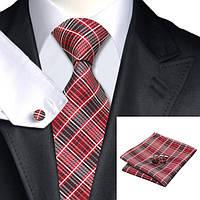 Галстук мужской подарочный красный с запонками и платком JASON&VOGUE