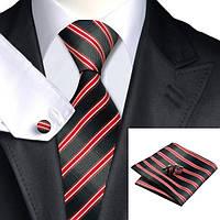 Набор мужской галстук с красными полосками JASON&VOGUE
