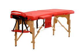 Массажный стол 2 сегментный деревянный, красный