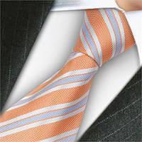 Галстук мужской оранжевый в полоску с голубым ARTEX