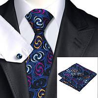 Подарочный мужской галстук синий гипнотический JASON&VOGUE
