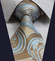 Галстук мужской капуччино с голубым D&T