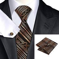 Подарочный мужской набор коричневый с платком и запонками JASON&VOGUE