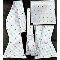 Tie Галстук-бабочка голубоватая в оранжевый горошек +платок
