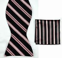Галстук-бабочка мужская черная в полоску +платок