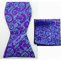 Галстук-бабочка мужская синяя в фиолетовом рисунке +платок