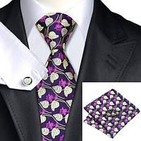 Галстук мужской в цветах с листьями + платок и запонки JASON&VOGUE