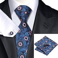 Подарочный мужской галстук синий с абстракциями JASON&VOGUE
