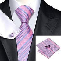 Галстук мужской розовый в голубою полосочку +платок и запонки JASON&VOGUE