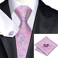 Галстук мужской розовый в цветок +платок и запонки JASON&VOGUE