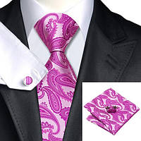 Галстук мужской фиолетовый в абстракциях +запонки и платок JASON&VOGUE