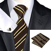 Подарочный мужской набор коричневый с желтыми полосками JASON&VOGUE