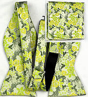 Галстук-бабочка мужская с цветочками +платок