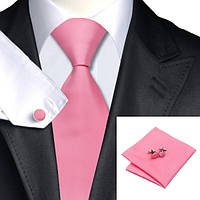 Галстук мужской розовый классический +платок и запонки JASON&VOGUE