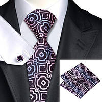 Галстук мужской черный с розовым и голубым + платок и запонки JASON&VOGUE