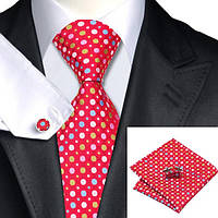 Подарочный мужской галстук красный в разноцветный горошек JASON&VOGUE