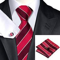 Подарочный мужской галстук красный в полоску JASON&VOGUE