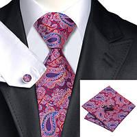 Подарочный мужской галстук красный с синем и белым в абстаркциях JASON&VOGUE