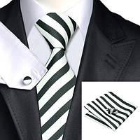 Галстук мужской белый в черную полоску + платок и запонки JASON&VOGUE