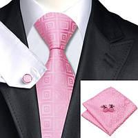 Галстук мужской розовый в квадратик + платок и запонки JASON&VOGUE