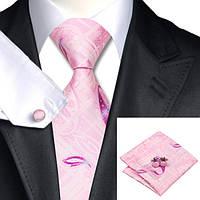 Галстук мужской розовый с абстракциями +запонки и платок JASON&VOGUE