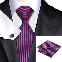 Галстук мужской фиолетовый с розовым в вертикальную полоску + платок и запонки JASON&VOGUE