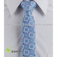Галстук мужской узкий голубой в квадратик Bow Tie House™