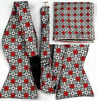 Галстук-бабочка мужская с платком серый/красный/черный
