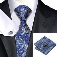 Подарочный мужской галстук темно-синий с абстракциями JASON&VOGUE