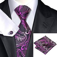 Галстук мужской черный с розовым и фуксия цветами JASON&VOGUE