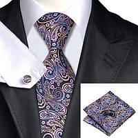 Галстук мужской черный с розовыми и голубыми абстракциями JASON&VOGUE