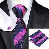 Галстук мужской темно-синий с розовым/фуксия цветами в кружок JASON&VOGUE
